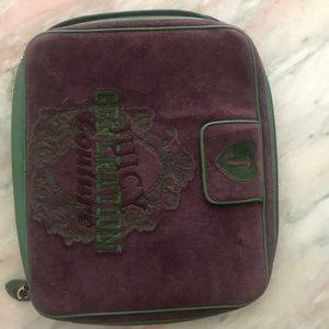 Beautiful purple and green laptop bag. Juicy!